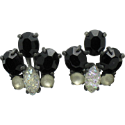 SCHIAPARELLI Lava Rock Satin Glass Black Crystal Vintage Earrings