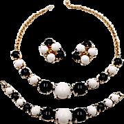 Vintage Black and White Cabochon Necklace, Bracelet, Earrings 3 Piece SET