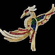 "BOUCHER Vintage Phoenix Bird Rhinestone Cabochon Brooch Pin 4.5"""