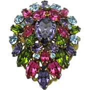 REGENCY  Vibrant Stacked Multi Color Rhinestone Gilt Filigree Pin