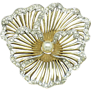 BOUCHER Pansy Pin Gold Plated Rhinestone Pearl Vintage 1950 Brooch