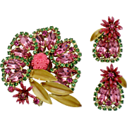 Gorgeous Vintage Pink Rhinestone Flower Brooch  & Earring SET