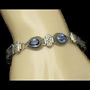 Art Deco WELLS STERLING Sapphire Paste Filigree Link  Bracelet