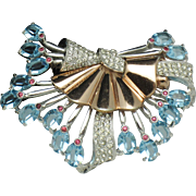 PENNINO Vintage Aqua Rhinestone Pave Rose  Rhodium Plated Brooch Pin