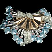 PENNINO Vintage Aqua Rhinestone Pave Rose Gold Rhodium Plate Brooch Pin