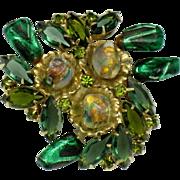 Stunning Vintage Designer Art Glass Rhinestone  Brooch Pin