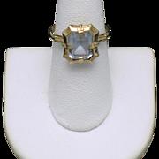 10k Yellow Gold Art Deco ESEMCO  Blue Topaz Glass Ring Sz 7.5