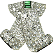 Gorgeous ART DECO Diamante Emerald Rhinestone Dress Clip Pin