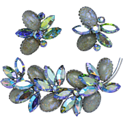 Gorgeous VENDOME Art Glass Rhinestone Brooch & Earring Set