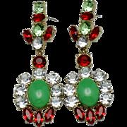 "Gorgeous Vintage 3"" Rhinestone Cabochon Statement Dangle Earrings"
