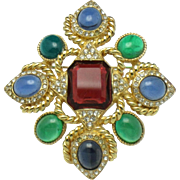 CINER Moghul Cabochon Maltese Cross Pin Brooch & Pendant
