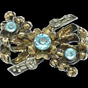 Vintage HOBE STERLING 1/20 14K Rhinestone Flower Brooch Pin