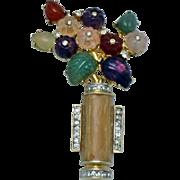 Vintage 1980s JUDITH LEIBER 24K GP Poured Glass Figural Flower Basket Brooch Pin