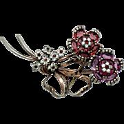 Vintage PENNINO Sterling Vermeil Double Flower Glass Rhinestone Brooch Pin