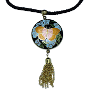 Vintage 1970s Signed HOBE Metallic Enamel Butterfly Necklace
