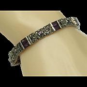 Art Deco 925 Sterling  Amethyst Paste Marcasite Link Bracelet
