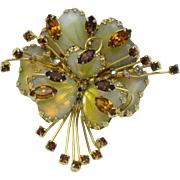 Julio Marsella for HOBE Signed Mayorka Petals Rhinestone Flower Brooch Pin VERY RARE