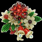 Large STANLEY HAGLER Christmas Bells Brooch Pin