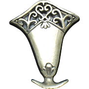 Vintage DeMatteo STERLING Posie Flower Brooch Pin Hand & Hammer - H&H Signed