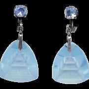 Vintage 1940s Japan STERLING Aqua Glass Pagoda Screwback Earrings