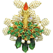STANLEY HAGLER Christmas Candle Holly Christmas Brooch Pin