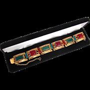 Rare Designer Signed MARINO Chrysoprase & Carnelian GP Filigree Link Bracelet