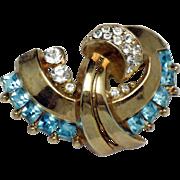 Vintage Designer  Aqua Crystal Rhinestone Gold Plated Brooch Pin