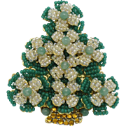 Authentic Glass Seed Pearl Cabochon STANLEY HAGLER Christmas Tree Brooch Pin