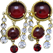 MOSELL Red Glass Cabochon Rhinestone  Dangle Clip Earrings