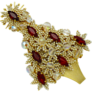 Large 4.5 Inch STANLEY HAGLER Christmas Tree Brooch Pin Gorgeous