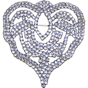 PAULINE TRIGERE Vintage Couture Pave Rhinestone Heart Brooch Pin