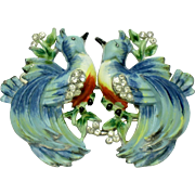 Hard to Find Vintage 1935 CORO Birds Duette Enamel Rhinestone Brooch/Pin/Clip