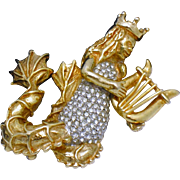Kenneth Jay Lane KJL Mythological Fantasy Mermaid Figural Brooch 1960s