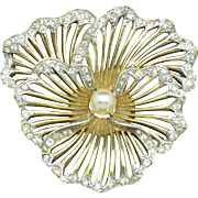 BOUCHER 1950 Gold Plated Rhinestone Pearl Pansy Flower Brooch Pin