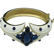 CROWN TRIFARI  Hinged Bracelet Blue White Art Glass and Enamel
