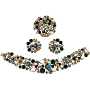 CLAUDETTE Vintage Parure - Bracelet, Brooch and Earrings Rhinestone Pearl Gold Plated