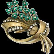 Vintage 1940s PENNINO STERLING Figural  Brooch Emerald Rhinestone Flower Pin