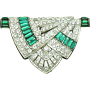 ART DECO  Dress Clip Pin  Circa 1930s Emerald Green Baguette Paste