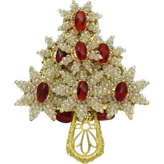 STANLEY HAGLER Christmas Tree Brooch Red Crystal Seed Pearl Glass Gilt Filigree