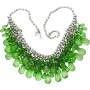 SCAASI  Green Faceted Crystal Bib Choker Necklace Stunning