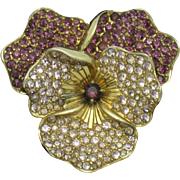 BOUCHER Vintage Rhinestone Pansy Flower Figural Brooch Pin