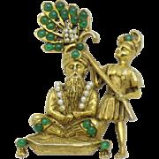 HATTIE CARNEGIE Maharajah King RARE Figural  Brooch Pin Book Piece