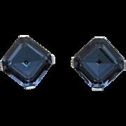CROWN TRIFARI Sapphire Crystal Vintage Clip Style Earrings