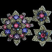 WEISS Vibrant Rhinestone Snowflake SET Brooch , Pendant andEarrings