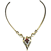 CROWN TRIFARI Vintage  Gold Plated Rhinestone Necklace Pat Pend