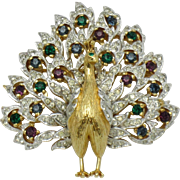 Gorgeous Vintage PANETTA Gold Plated Rhinestone Figural Peacock Brooch Pin
