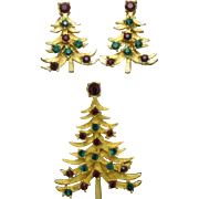 Classic Vintage MYLU Christmas Tree Brooch Earring Set