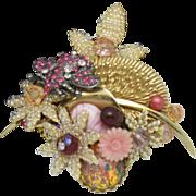 STANLEY HAGLER Rhinestone Gilt Seed Pearl Glass Butterfly Brooch Pin 3x3