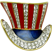 KJL Kenneth Lane  Uncle Sam Patriotic Tophat Brooch Pin