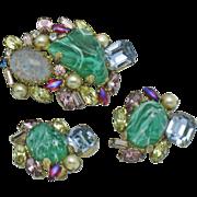 ALICE CAVINESS Vintage  Brooch and Earrings Art Glass Rhinestone Pearl Demi Parure Set